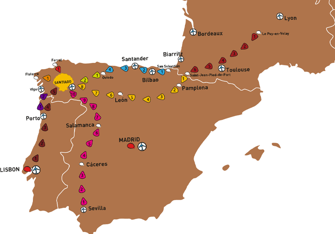Camino Walk Spain Map.The Top Five Camino De Santiago Routes Rough Draft